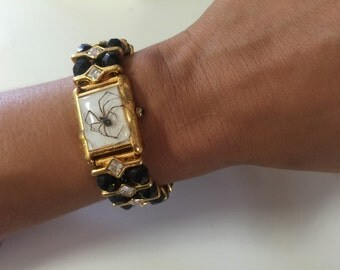 Real spider upcycled watch bracelet one of a kind jewelry