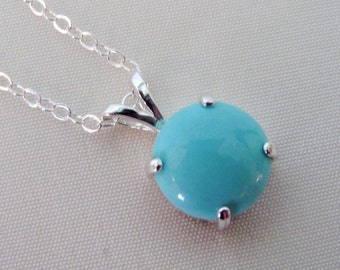 Sleeping Beauty Turquoise Pendant, 10mm Turquoise Gemstone, Arizona Turquoise, Turquoise Necklace in Sterling Silver, December Birthstone