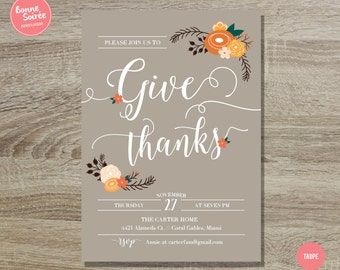 Give Thanks Invitation // 5x7 Rustic Thanksgiving Invitation - Autumn Dinner Invitation - Rustic Fall Thanksgiving Party Printable Invite
