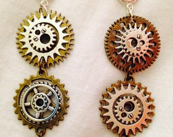 Gearrings Steampunk Gear Earrings Mixed Metals Silver Plated Ear Hooks