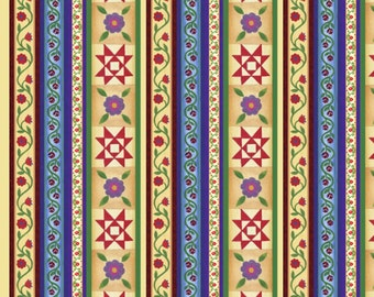 "Destash, Jim Shore STRIPE PANEL Quilt Fabric, 24"" x 43/44"", Licensed Cotton Fabric, Springs Folk Art Print, Christmas Quilting Fabric"