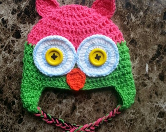 50% OFF Crochet Pink and Green Owl Hat, Crochet Toddler Owl Hat, Pink and Green Owl, Crochet Owl, Crochet Owl Hat, Toddler, Ready to Ship