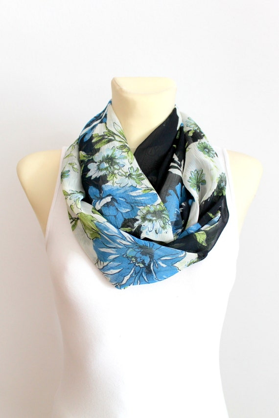 Blue Floral Infinity Scarf - Floral Fabric Scarf - Boho Infinity Scarf - Floral Printed Scarf - Women Fashion Accessories - Gift Idea