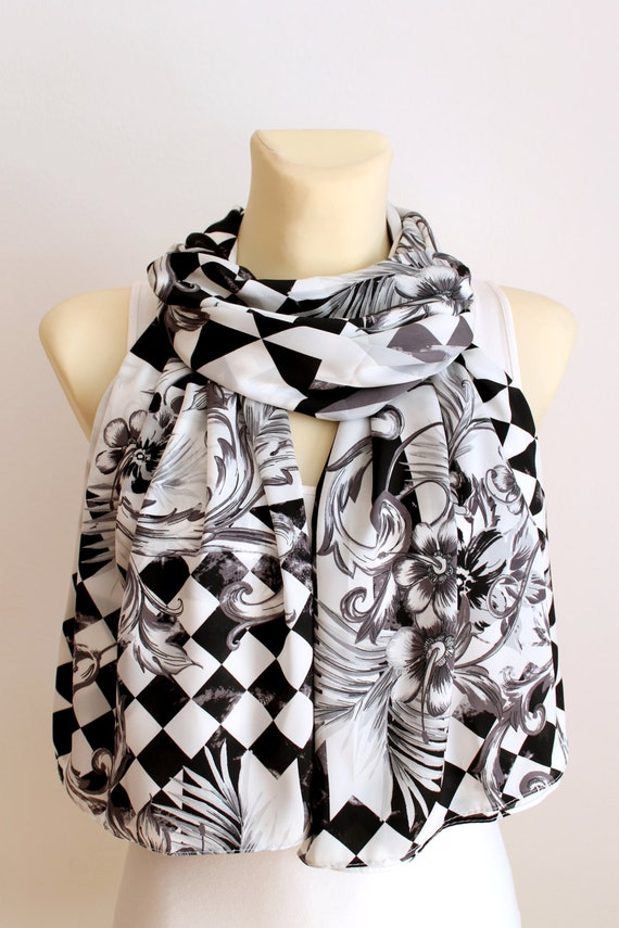 White Fashion Scarf - Boho Women Scarf - Unique Fabric Scarf - Satin Scarf - Large White Scarf - Geometric Scarf - Valentines Gift for her