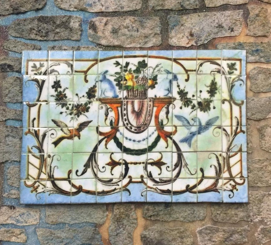 Dollhouse miniature ceramic tile mural for Dollhouse mural