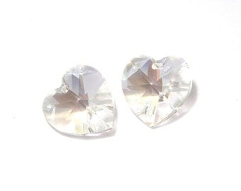 2x Swarovski Heart 14x14 mm - Crystal Moonlight