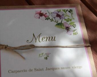 Menu range |mariage side jardin|