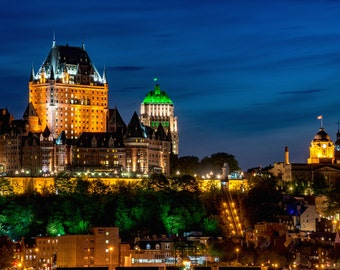 Quebec City Print, Quebec City Photography, Quebec City at Night, Cityscape Print, Quebec Print, Quebec Photography