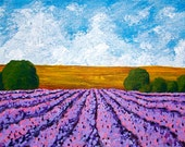 "Rows of Lavender In Provence (ORIGINAL ACRYLIC PAINTING) 5"" x 7""  by Mike Kraus"