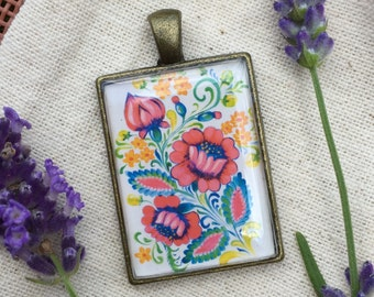 Flower Petrykivka and Birds, Whimsical Pendants, and/or Key Chain