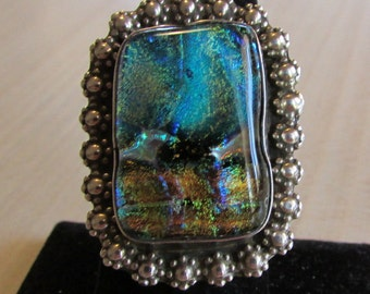 Sterling Slver and Dichroic Glass Ring Size 8 1/4