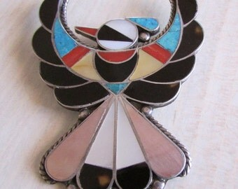 Zuni Inlay and Sterling Silver Large Thunderbird Pin