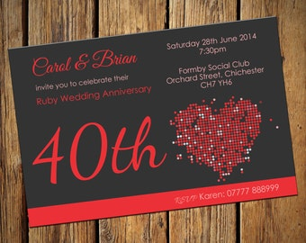 40th Ruby Wedding Anniversary Party Invitations No 4