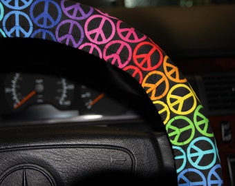 Multicolored  Steering wheel cover - Rainbow Peace Sign  wheel cover - Car Accessories.