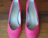 Joyce Hot Pink Leather Pump Kitten Heels size 6 and a half 80s