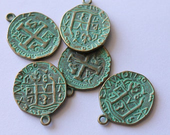 Green Brass Coin Charms 5pcs.