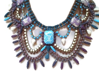 OUTFOXED slate blue, grey, pastel blue purple, brown, cream and pastel yellow hand painted rhinestone statement bib necklace