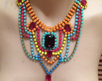 CARNIVAL neon painted rhinestone necklace