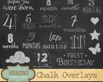 Chalkboard Baby Age Overlay Clipart for Scrapbooking, Invitations, Baby Showers - Commercial Use