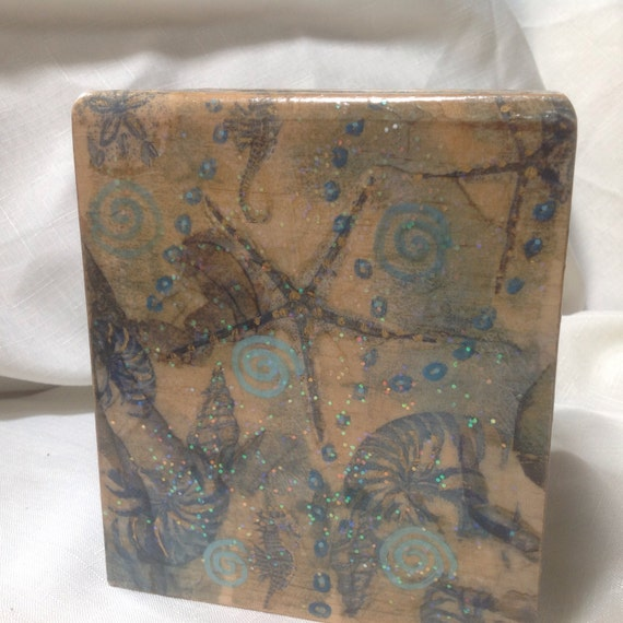 Hand painted coastal theme tissue box cover cottage decor beach decor - Beach themed tissue box cover ...
