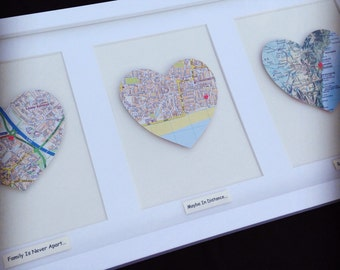 Vintage Map Frame - Three/Triple Heart