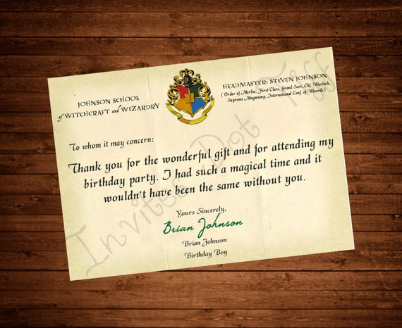 School Acceptance Letter Thank You Card