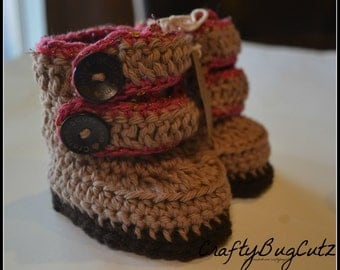 Crochet baby strappy booties
