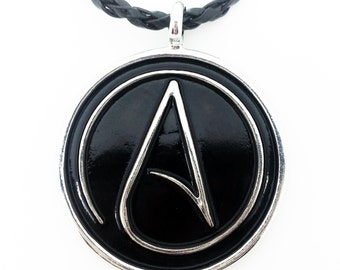 Atheist Logo, Black and Silver Pewter Pendant Necklace
