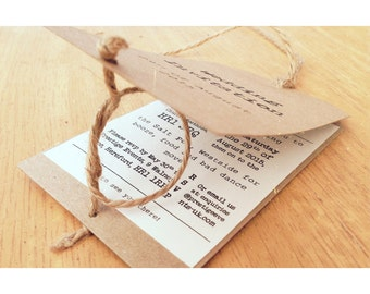Rustic 'Tying the Knot' wedding invite luggage tag Kraft