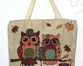 Owl Tote bag, Graphic tote, Canvas Bag, Handbag, shoulder bag, Handmade bag