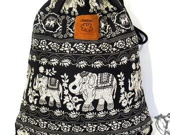 10% OFF [Origi 14.99] Elephant Backpack Canvas Cotton drawstring Hip bag Festival Handmade bag