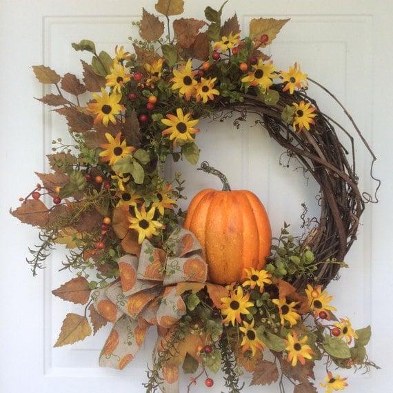 Autumn Front Door: Fall Wreaths Pumpkin Wreath Front Door Decor Autumn