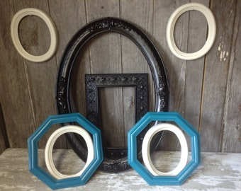 410 -Picture Frames -Gallery Wall Grouping-Set of 8 -Syroco- Wedding-  Entry Way - Black - Turquoise - Heirloom White