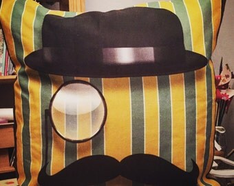 Mustache and bowler hat cushion
