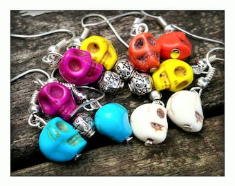 Howlite Skull Earrings