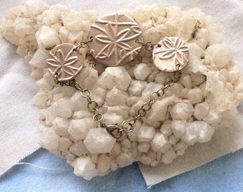 Bronze Metal Clay Flowered Charm Bracelet