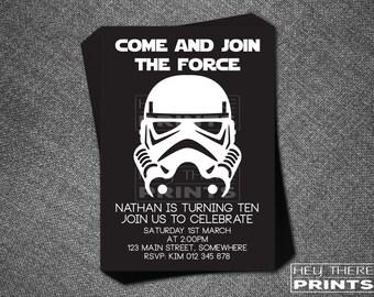 Storm Trooper Birthday Invitations - Star Wars - Darth Vader