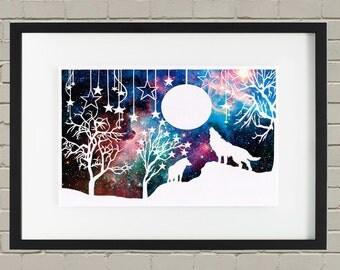 Wolf Papercut Art Print - Woodland Art - Wall Art - Animal Lover Gift - Galaxy Art