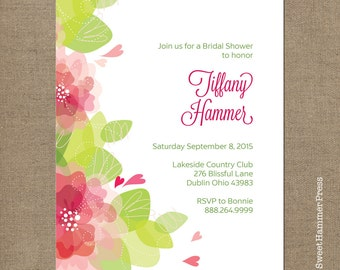 printed modern baby shower invitations simple script on pink