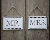 Vintage Mr and Mrs Chair Signs - wedding chair bunting, wedding decor, mr and mrs wooden chair sign