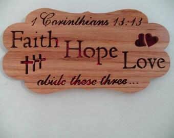 Faith Hope Oak Plaque