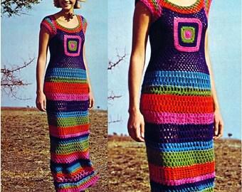 Crochet DRESS Pattern Vintage 70s Crochet Striped Lace Sticth Motif Dress Pattern Crochet MAXI Dress Pattern Crochet Long Dress Pattern