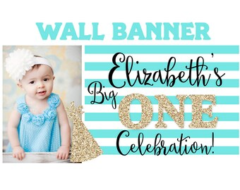 Big One Sparkle Birthday Banner ~ Personalized Party Banners Photo First Birthday Banner, Printed Banner, Birthday Celebration Banner