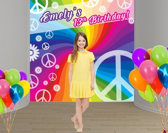 Retro Party Personalized Photo Backdrop - Birthday Photo Backdrop - 13th Birthday Photo Backdrop- Hippie - Printed Custom Backdrop