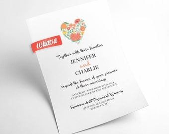 Sweet Heart Wedding Invitation / DIY Printable Invitation