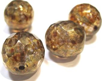 Czech Glass 16mm Facet Round - Tortoise Shell - Pack 4