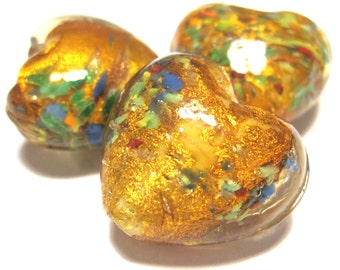 Lampwork Foil 18mm Heart with Speckles - Pack 5