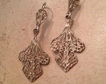 Vintage 14k Gold and Sterling Silver Earrings  Filigree Dangle