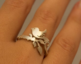 Bird Ring Tweeting Bird on Branch Twig Ring Everyday Silver Jewelry Nature Animal Rings Sparrow Ring Spring Fashion Ring