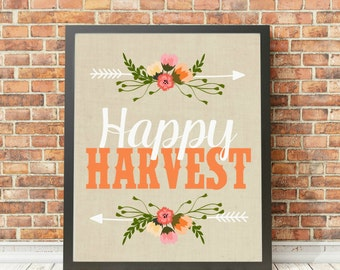 Happy Harvest Fall Autumn Thanksgiving Digital Print Instant Art INSTANT DOWNLOAD